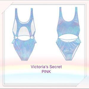 VS PINK Velvet Cutout One-Piece swim suit blue